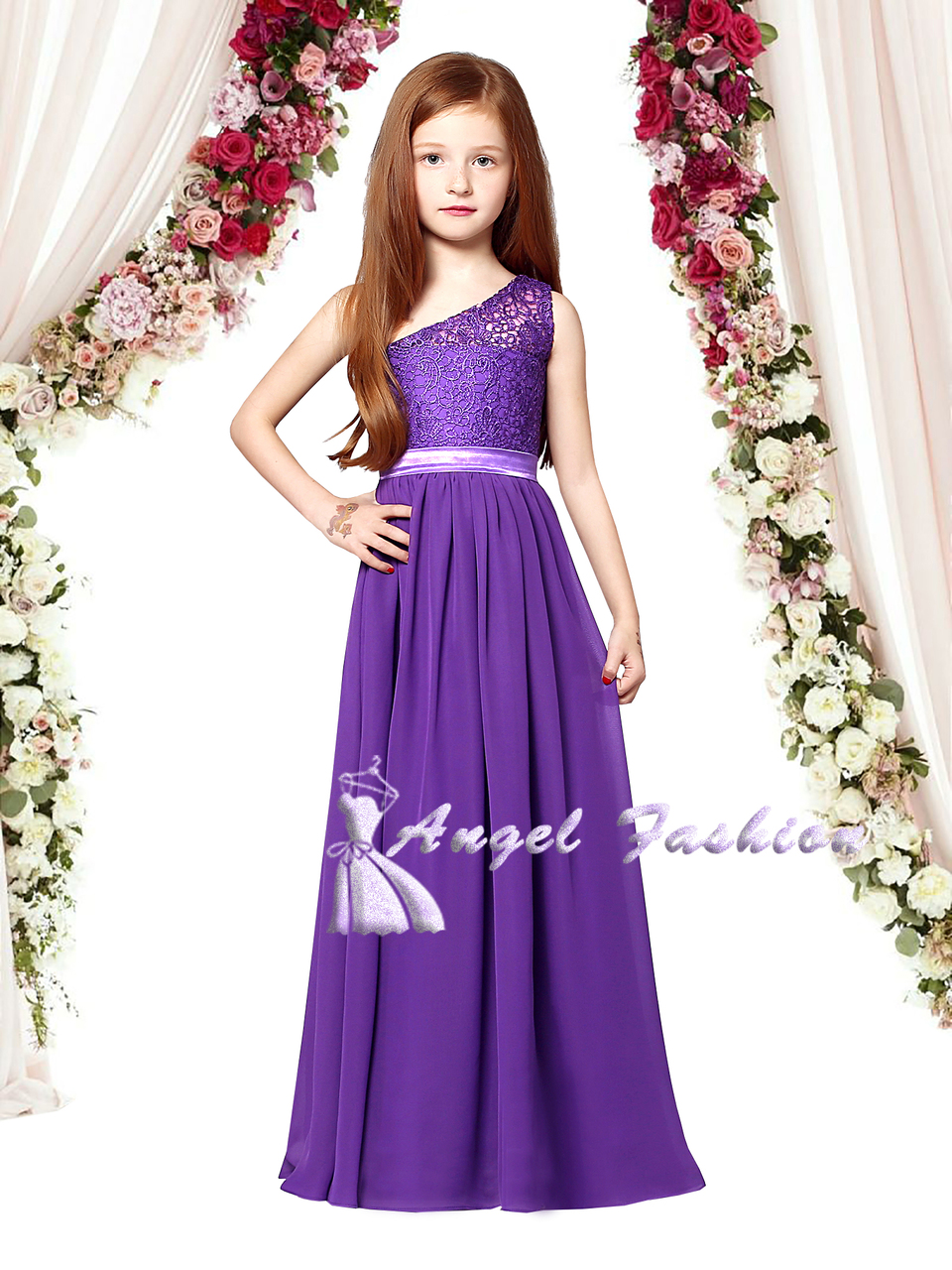 Chiffon Gorgeous One Shoulder Junior Party Prom Wedding Bridesmaid dress 6-14Ys