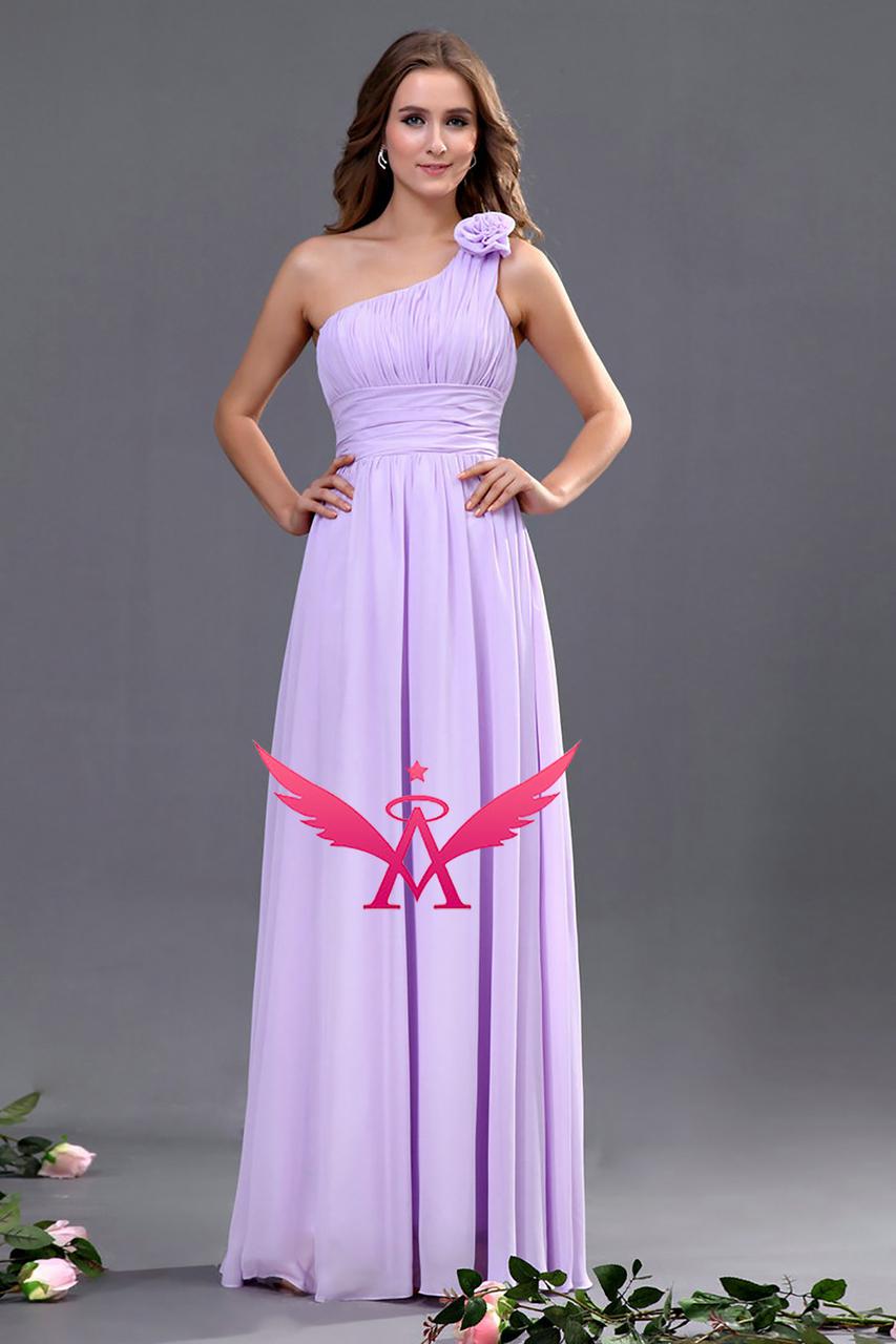 Bridesmaid One Shoulder Flower Dress