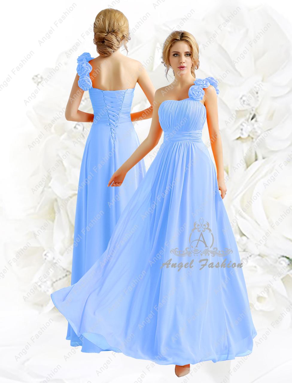 Elegant One Shoulder Flower Bridesmaid Dress
