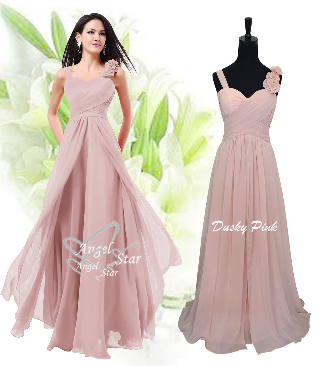 1d5357fd06 New Formal Long Evening Ball Gown Party Prom Bridesmaid Dress Size 6 - 24 -  Angel Fashion ltd