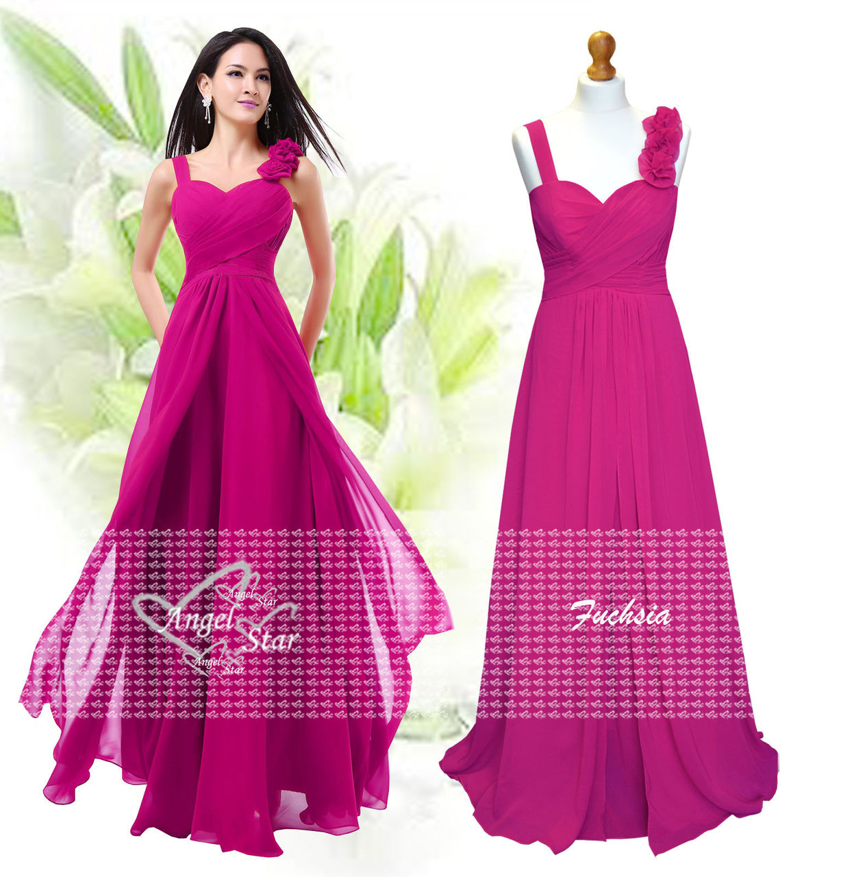 Formal Long Chiffon Prom Evening Party Ball Gown Bridesmaid Dresses Size 6-24