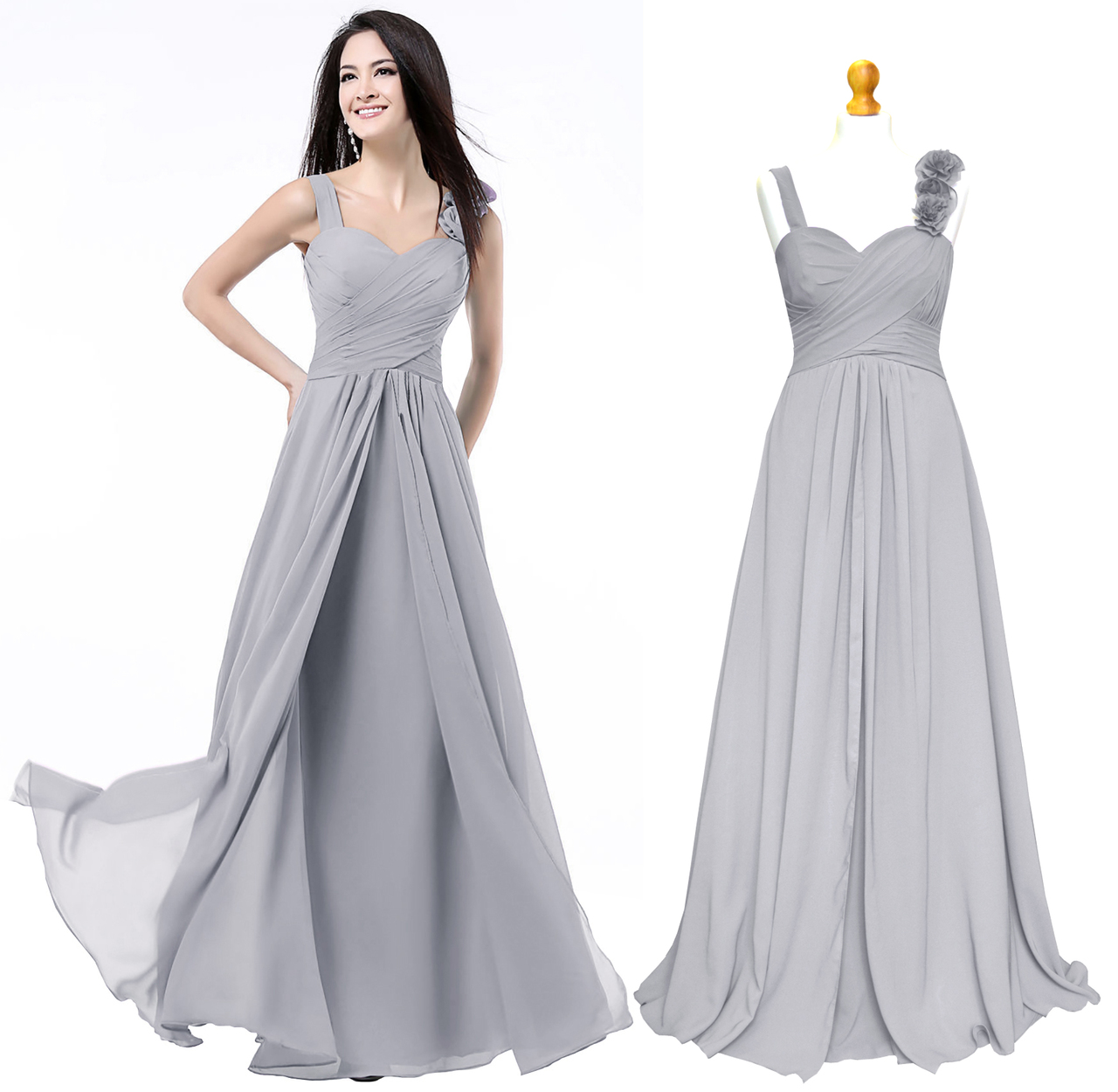 1390e113b2 ... Grey Coral Teal New Formal Long Evening Ball Gown Party Prom Bridesmaid  ...