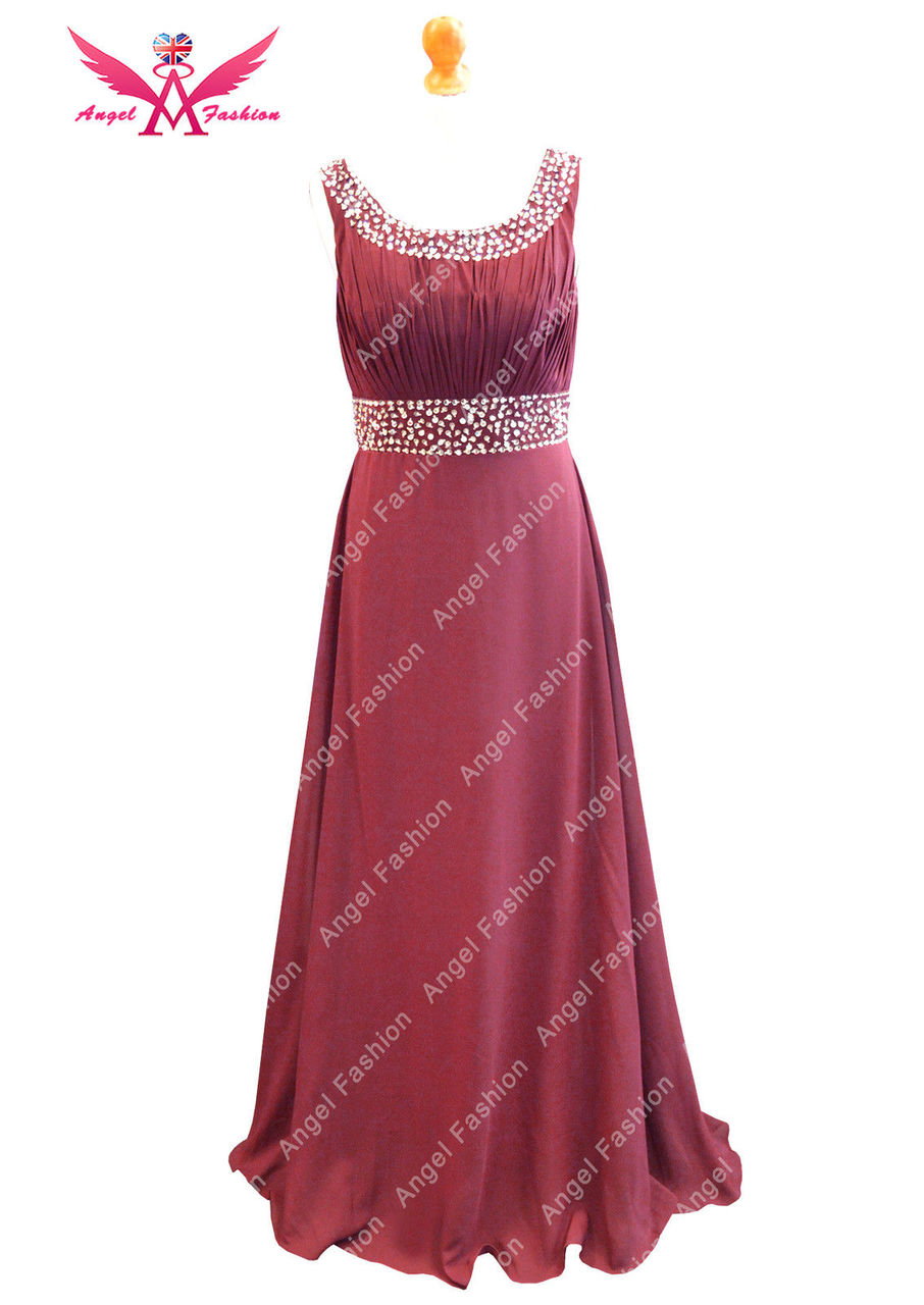 3e4d01b9055b6 ... Long Chiffon Bridesmaid Formal Gown Ball Evening Prom Party Dress size  Dark Red Black Burgundy Turquoise