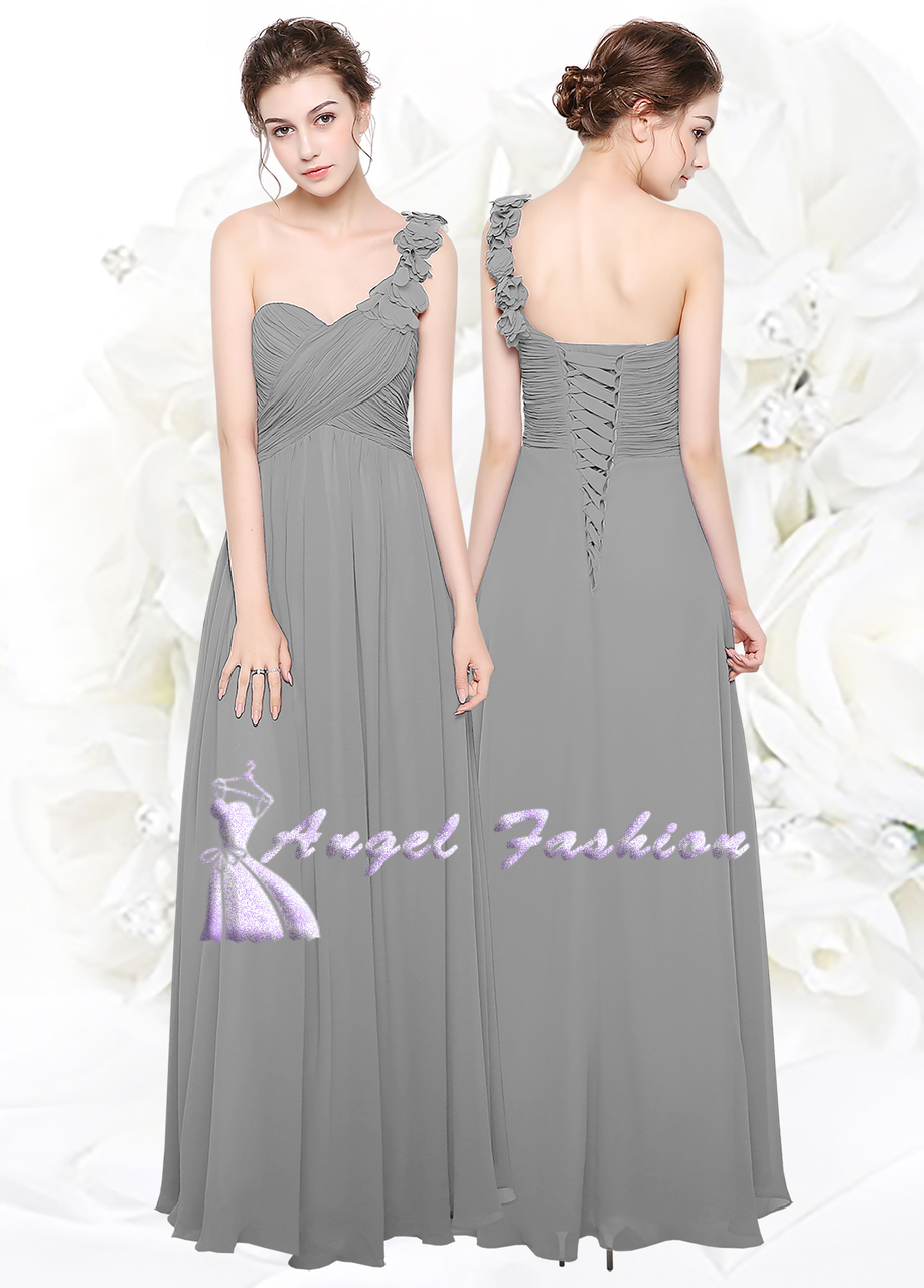 One shoulder with Flower Chiffon Evening Wedding Party Bridesmaid Dress