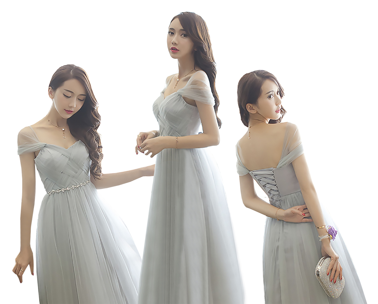 New Straps Design Floor Length Lace Back Bridesmaid Wedding Party Prom Dress