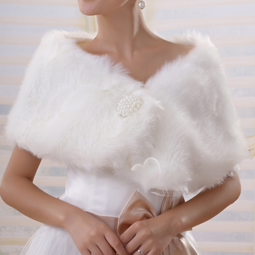 Faux Fur Ivory Wrap Bridal Bridesmaids Wedding S / M / L/XL