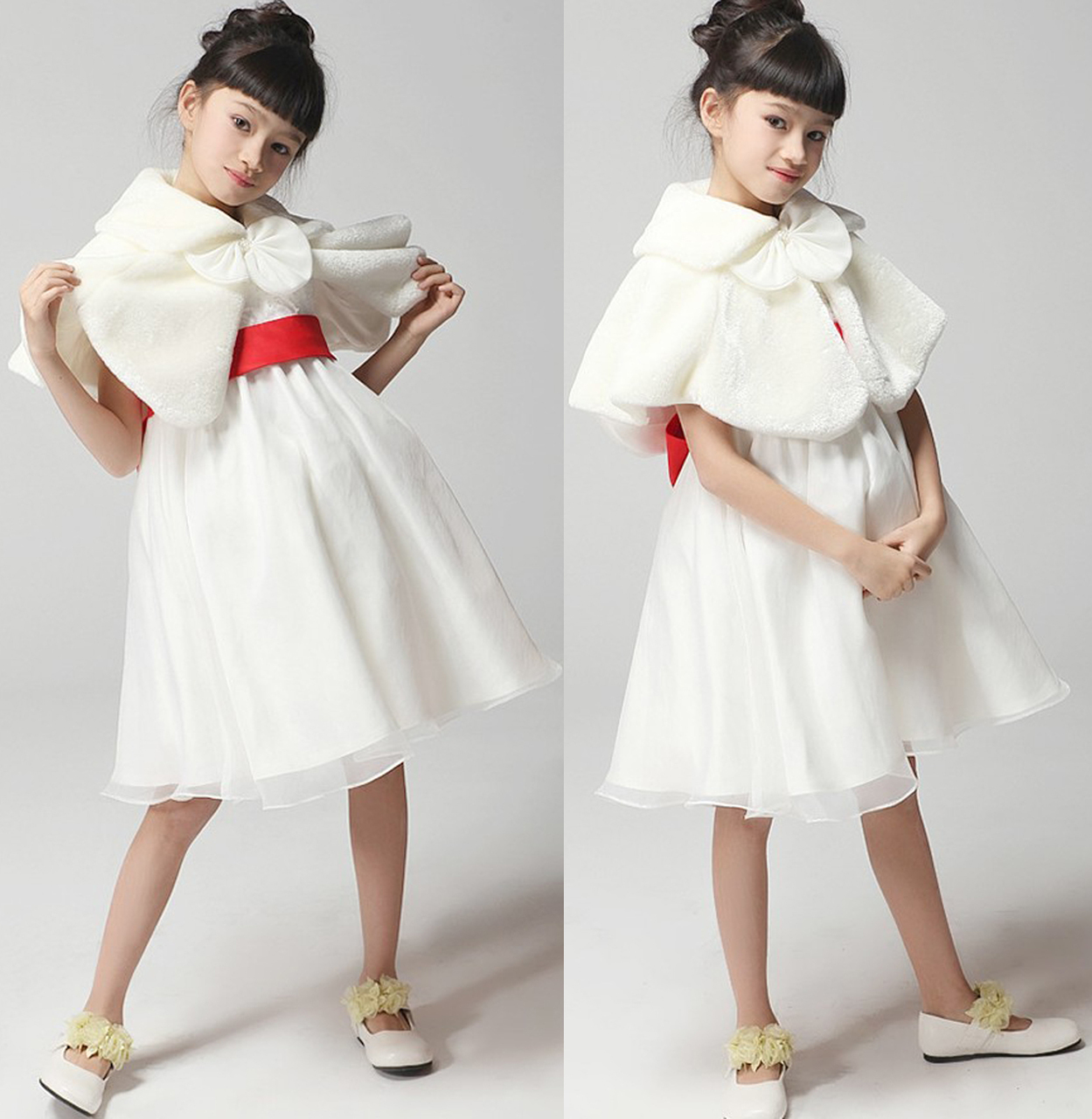 0c402eb3dbf Ivory Wedding Party Flower Girl faux fur stole Wraps Cap S   M   L - Angel  Fashion ltd