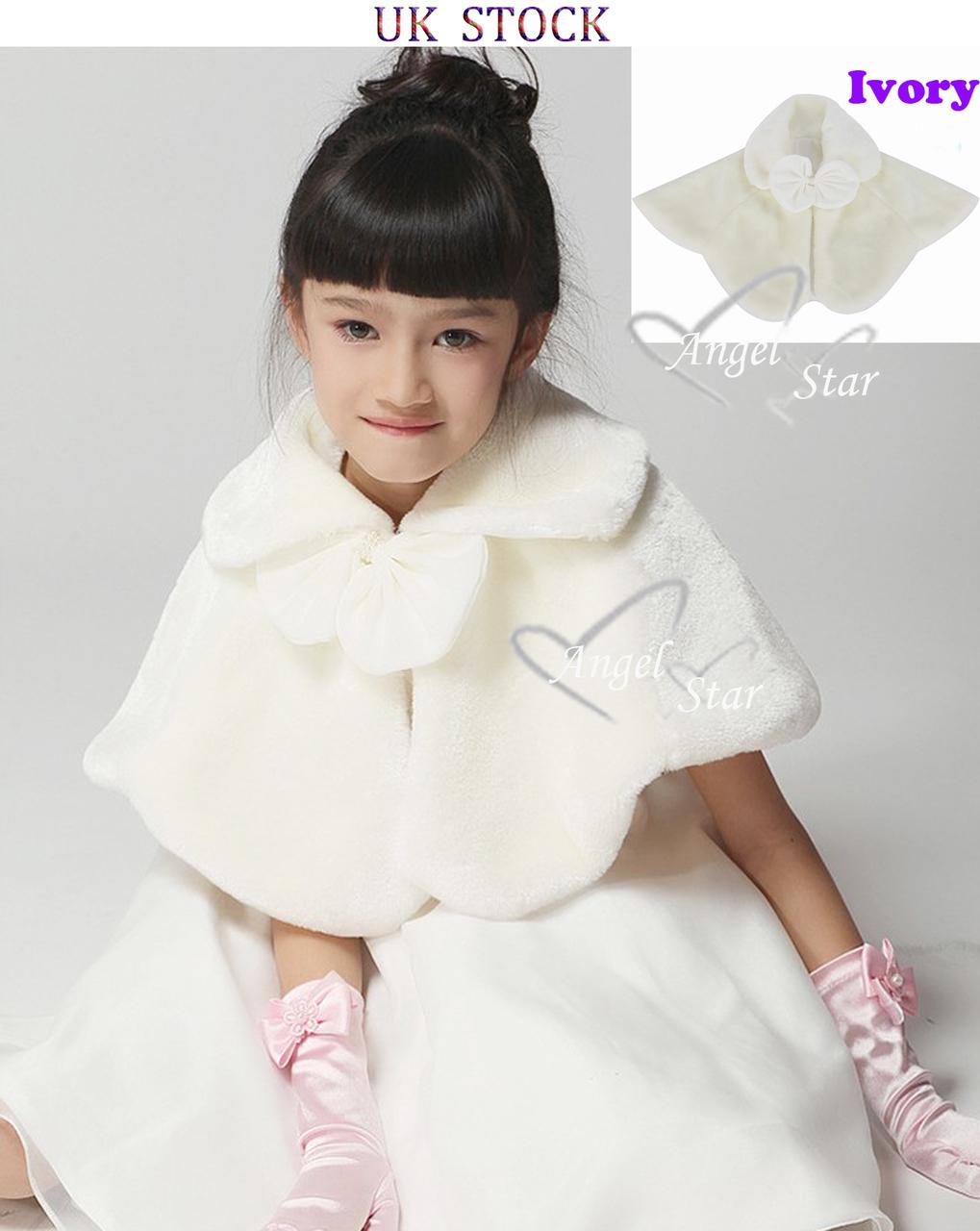 Ivory Wedding Party Flower Girl faux fur stole Wraps Cap S / M / L