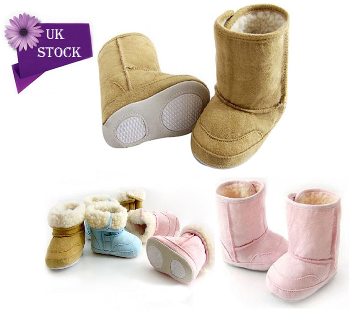 Baby Warm Winter Boots Shoes Fur Lining Boys Girls Snow 6-24Month Infant Toddler