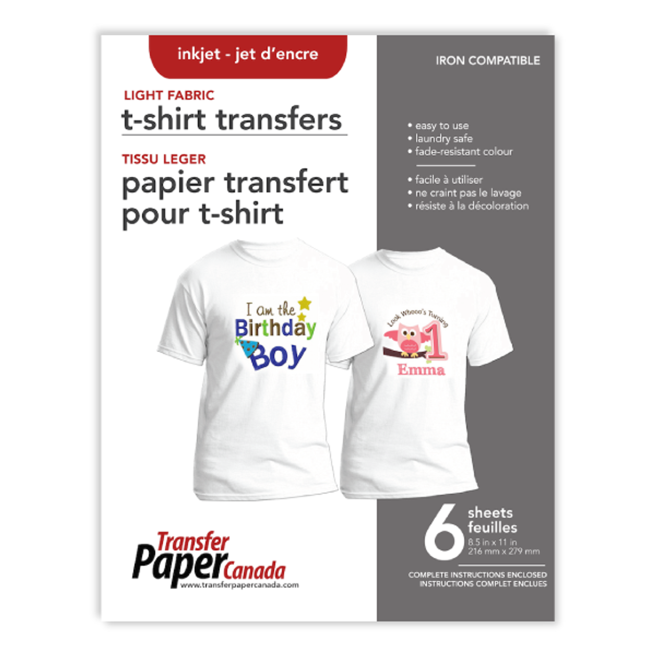 Opti-Trans Light - Heat Transfer Paper (Retail 6 pack)