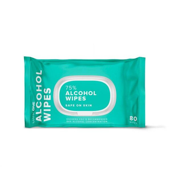 MarkOne Alcohol Wipes - Pack of 80 - 75percent Alcohol - Wet Wipes