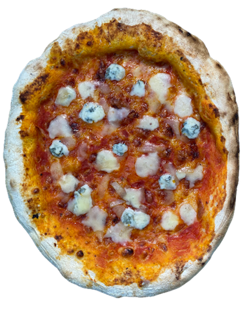 FREEZER TO OVEN PIZZA 1 x QUATTRO FORMAGGI DOP TALEGGIO FONTINA MOZARELLA DE ITALIA Y GORGONZOLA 36 HORAS VERDE NAPLES APPROVED FLOUR