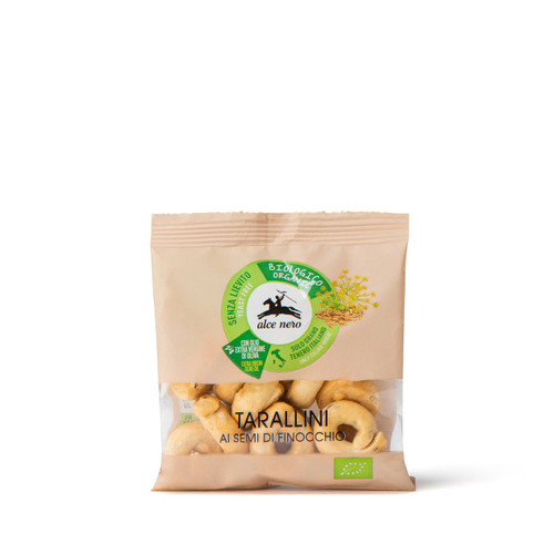 "Organic  Handmade salted crackers ""Tarallini"" 40g single portion - display 14 pcs. with fennel seeds & extra virgin Olive oil (from Apulia)"