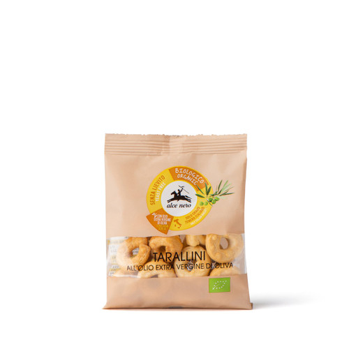 "Organic Handmade salted crackers ""Tarallini"" 40g single portion extra virgin Olive oil (from Apulia)"