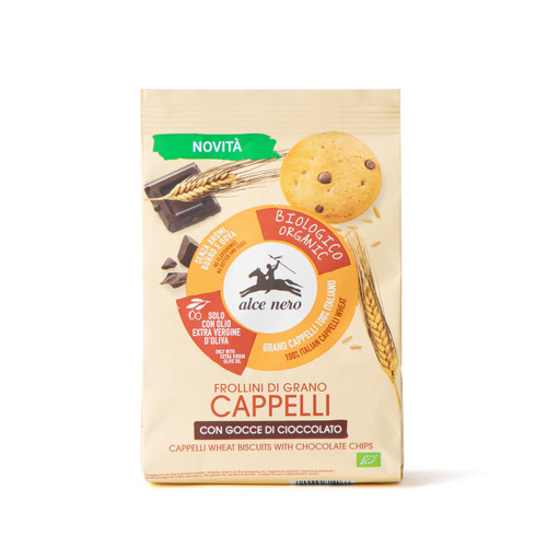 Organic Cappelli wheat biscuits w. chocolate drops Alce Nero 250g