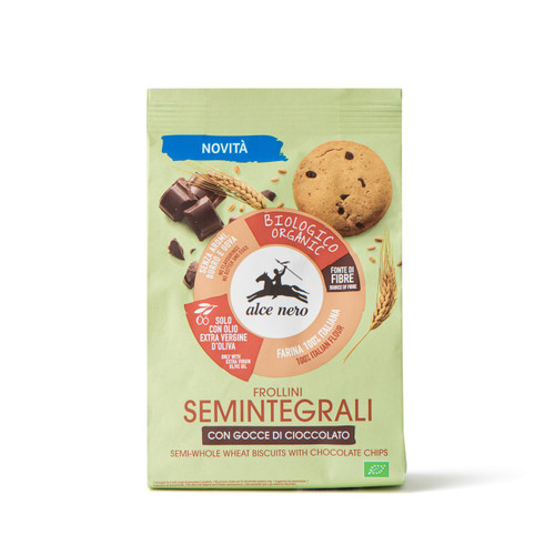 Organic semi-whole wheat biscuits with chocolate drops Alce Nero 250g