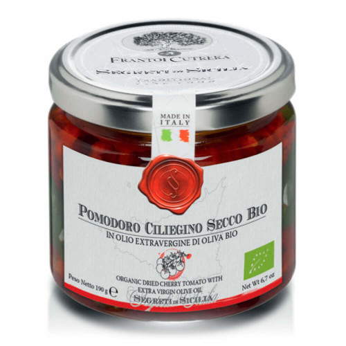 POMODORI CILIEGINO SECCO BIO, ORGANIC DRIED CHERRY TOMATOES WITH EXTRA VIRGIN OLIVE OIL