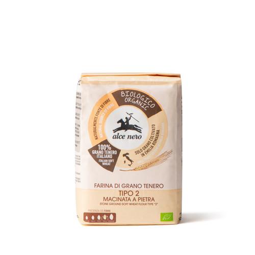 "Organic stone ground soft wheat flour Italian type ""2"" 1000g"