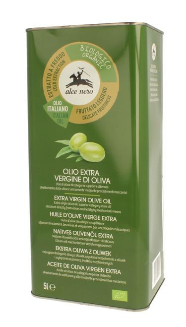 """Organic extra v. olive oil """"Delicato"""" Alce Nero 5 lt. can"""