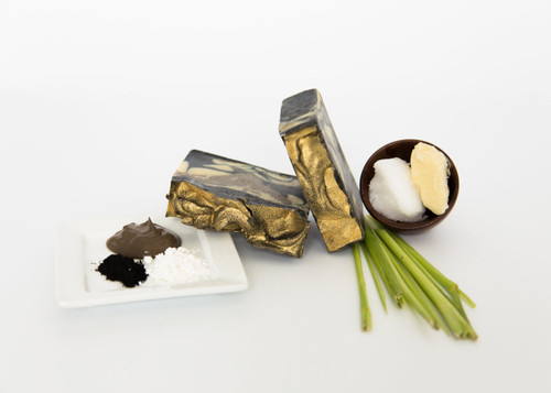 Activated Bamboo Carbon Soap, made with organic shea butter, coconut oil, Dead Sea mud, kaolin clay, and lemongrass.