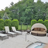 Emerald Green Arborvitae Hedge Behind Outdoor Daybed