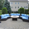 Emerald Green Arborvitae Behind Firepit Patio Table