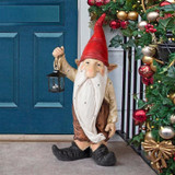 Wheezer Santas Light Holiday Garden Gnome Statue on the Front Porch