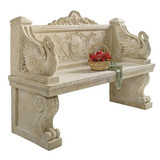 Giant Neoclassical Swan Garden Bench With Basket