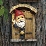 The Knothole Gnomes Door Gnome Tree Sculpture Hanging in the Garden