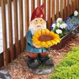 Sunflower Sammy Garden Gnome Statue in the Garden