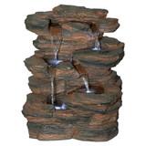 Ramrod Bluffs Cascading Waterfall Illuminated Tabletop Water Fountain