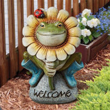 Flowery Frog Welcome Statue in the Garden