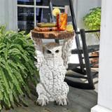 Wisdom Owl Sculptural Plant Stand Next to Fern Plant