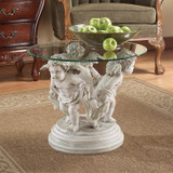 Bernini Cherubs Glass Topped Plant Stand in the living room