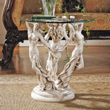 The Muses Glass-Topped Plant Stand With Glass Planter on Top