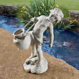 Young Child Urn Carrier Garden Planter Statue in the Garden