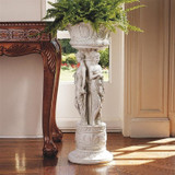 Chatsworth Manor Sculptural Neoclassical Pedestal Urn Planter Inside by the Window