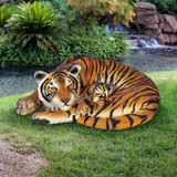 Life-Size Resting Bengal Tigress and Cub Statue in the Garden