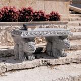 Blair Castle Sculptural Gargoyle Garden Bench Next to Landscaping