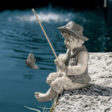 Frederic Little Fisherman Avignon Statue by the Pond