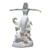 Ocean Queen Mermaid Marble Resin Statue