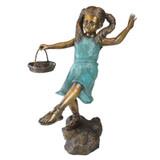 Brittany Basket Girl Bronze Garden Statue
