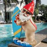 The Shredder Surfer Dude Gnome Statue in the Garden