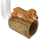 Golden Retriever Puppy Dog Gutter Guardian Decorative Downspout Statue on the Gutter
