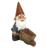Wheel Barrel Willie Garden Gnome Statue