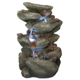 Rocky Range Pass Cascading Waterfall Illuminated Tabletop Water Fountain