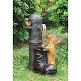 Fire Hydrant Sculptural Dog Water Fountain in the Garden