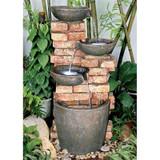 Stacked Bricks Cascading Water Fountain in the Garden