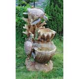 Turtle Cove Cascading Sculptural Water Fountain Bird Bath
