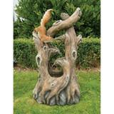 Tree Squirrel Cascading Sculptural Water Fountain in the Garden